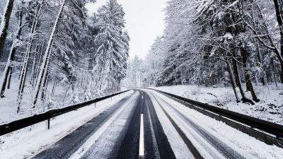 Winter, Road, Forest, Snow covered, Trees