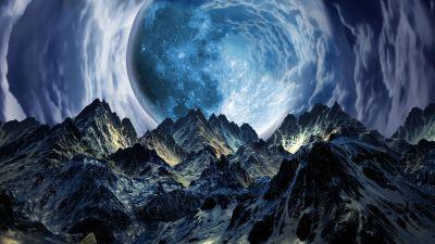 Moon, Mountains, Landscape, Portal, Surreal, Clouds