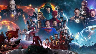 Crisis on Infinite Earths, TV series, Crossover, Supergirl, Batwoman, The Flash, Arrow, Legends of Tomorrow, DC Comics, DC Superheroes, 5K
