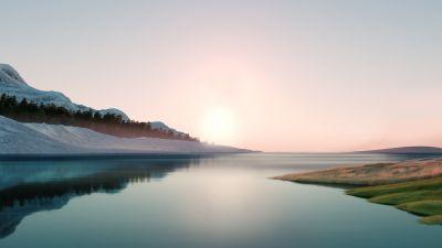 Windows 11, Landscape, Scenery, Sunrise, Stock, Day light