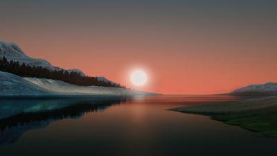 Windows 11, Landscape, Scenery, Sunset, Stock, Night