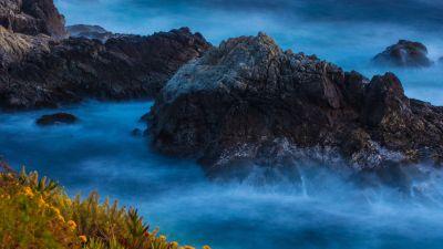 Rocky coast, Water waves, Big Sur, Beach, Long exposure, 5K