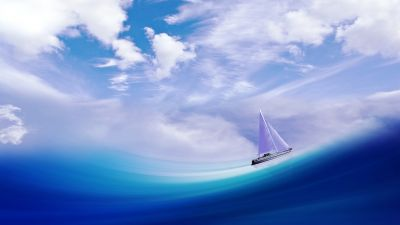 Sailing ship, Illusion, Sea, Cloudy Sky, Blue Ocean, Surreal, 5K
