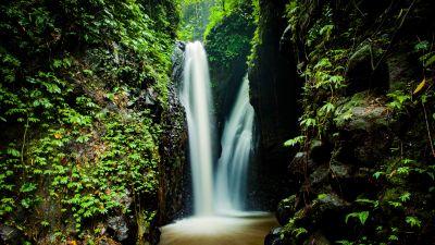 Waterfall, Forest, Rocks, 5K