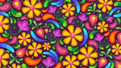 Floral designs, Digital Art, Paisley pattern, Colorful, Illustration, Multicolor, 5K