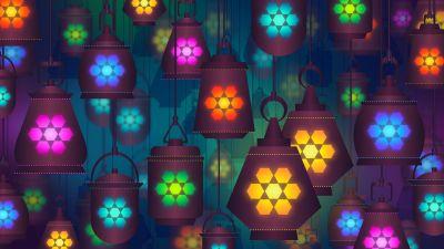 Lanterns, Lamps, Colorful background, Digital Art, Illustration