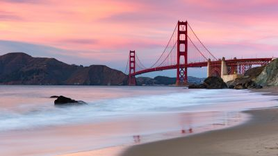 Golden Gate Bridge, Evening, Coastline, San Francisco, Beach, California