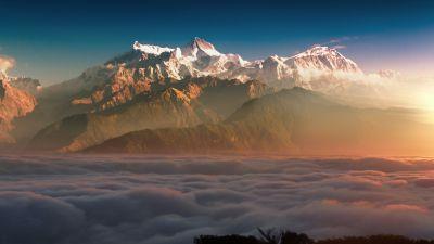 Glacier mountains, Clouds, Sun light, Alpenglow, Mountain range, Summit, 5K, 8K