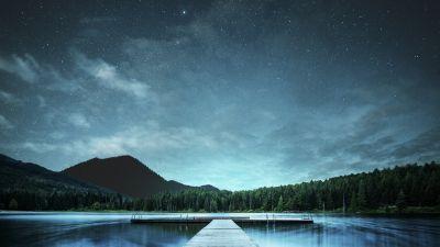 Jetty, Lake, Night sky, Landscape, 5K, 8K