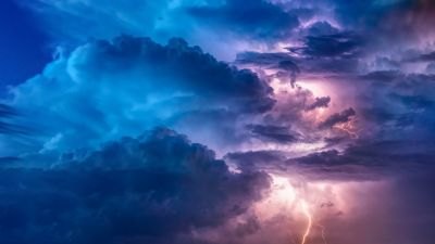 Thunderstorm, Lightning, Flashing, Stormy Clouds, Bad Weather, Cloudscape, 5K