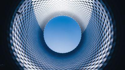 Basel exhibition center, Modern architecture, Sky view, Spiral, Switzerland, 5K, 8K