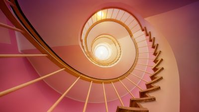 Spiral stairs, Pink, Staircase, Ambient lighting, 5K