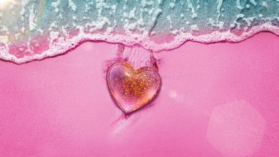 Love heart, Beach, Pink background, Pink Heart, Aerial view, Girly backgrounds