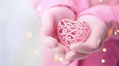 Pink Heart, Hand Gloves, Pink background, Valentine's Day, Emotions, 5K