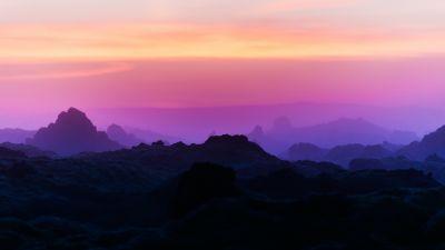Silhouette Mountain, Mountain range, Sunrise, Dawn, Purple sky, Landscape, Scenery, 5K