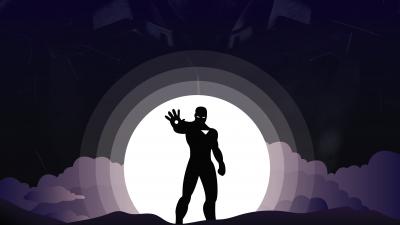 Iron Man, Marvel Superheroes, Silhouette, Tony Stark, Dark background, Minimal art, Robert Downey Jr