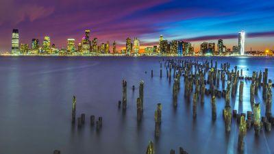 New York City, Metropolitan, Skyline, Cityscape, Night, City lights, Long exposure, Pier, 5K