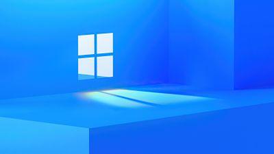 Windows 11, Stock, Official, Blue background, Windows logo, Aesthetic