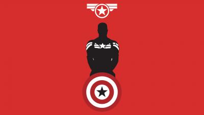 Captain America, Marvel Superheroes, Minimal art, Red background, 5K, 8K