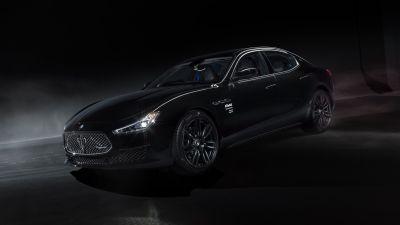 Maserati Ghibli Operanera by Fragment, 2021, Dark background, Black cars, 5K