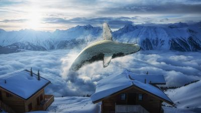 Whale, Mountain range, Snow covered, Wooden House, Clouds, Digital Art, Foggy, Sunny day