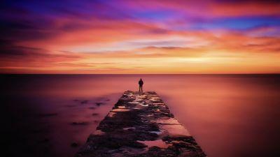 Seascape, Pier, Person Silhouette, Sunset, Horizon, Cloudy Sky, Long exposure, Landscape, Scenery, Vibrant