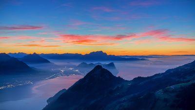 Rigi Hochflue, Afterglow, Golden hour, Switzerland, Fog, Mountain range, Dusk, Landscape, Scenery, 5K