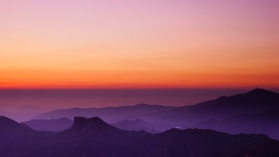 Lion Rock Hill, Sunset, Hong Kong, Dusk, Mountain View, Fog, Horizon, Clear sky, Landscape, Scenery, 5K