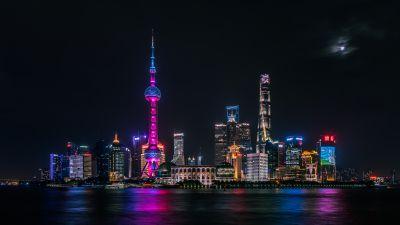 Shanghai City, Skyline, Night time, Cityscape, City lights, Body of Water, Reflection, Dark Sky, Skyscrapers, 5K