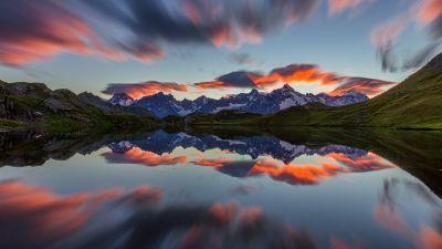 Lacs de Fenêtre, Mirror Lake, Mountain range, Reflection, Sunset, Afterglow, Long exposure, Landscape, Scenery, 5K