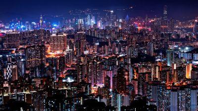 Hong Kong City Skyline, Cityscape, City lights, Night time, Skyscrapers, 5K
