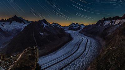 Aletsch Glacier, Star Trails, Night time, Switzerland, Long exposure, Glacier mountains, Landscape, 5K