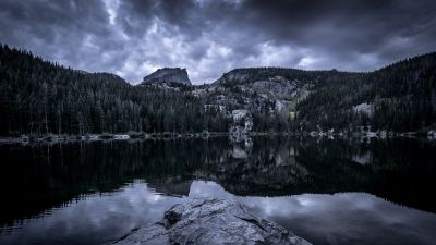 Bear Lake, Rocky Mountain National Park, Mountain View, Cloudy Sky, Reflection, Body of Water, Landscape, Scenery, 5K