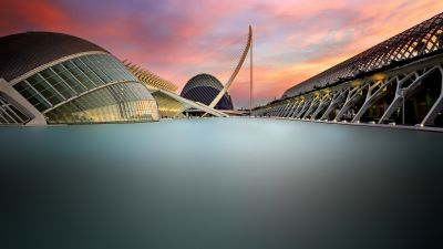 City of Arts and Sciences, Valencia, Spain, Long exposure, Modern architecture, Sunset, Famous Place, 5K
