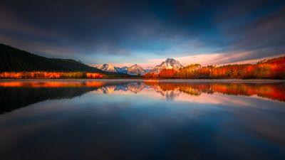 Mount Moran, Grand Teton National Park, Wyoming, Sunrise, Reflection, Mountain Peak, Body of Water, Alpenglow, Landscape, Scenery, 5K, 8K