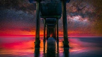 Scripps Pier, La Jolla, United States, Milky Way, Starry sky, Underneath, Body of Water, Reflection, Tourist attraction, Landscape, Scenic, 5K, 8K