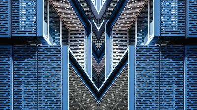 Architectural Design, Blue, Building, Symmetrical, Pattern, 5K