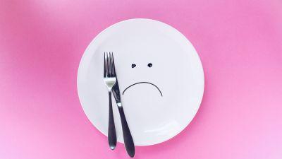 Empty Plate, Sad, Fork, Pink background, Hunger, Utensils, 5K