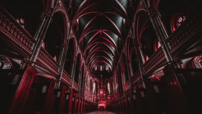 Notre-Dame Cathedral Basilica, Ottawa, Canada, Historical landmark, Religion, Archway, Red, Ancient architecture, 5K