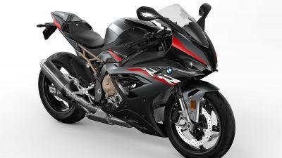 BMW S1000RR, Black bikes, Sports bikes, White background, 2022