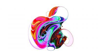 Apple, Logo, Colorful, Liquid art, White background, Apple Event
