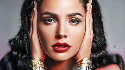 Wonder Woman, Gal Gadot, Portrait, Artwork, DC Superheroes