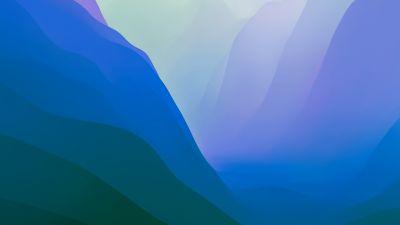 macOS Monterey, Stock, Green, Light, Layers, 5K, 8K