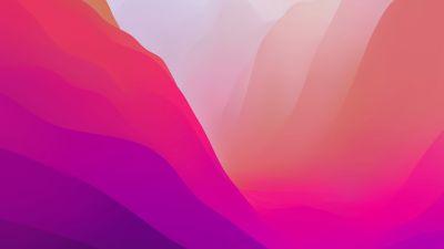 macOS Monterey, Stock, Pink, Light, Layers, 5K, 8K