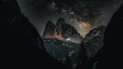 Three peaks of Lavaredo, Dolomites, Italy, Tourist attraction, Milky Way, Starry sky, Mountain Peaks, Snow covered, Night time, Outer space, 5K