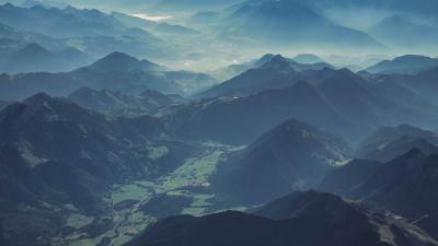 Brandenberg Alps, Austria, Mountain range, Aerial view, Mist, Valley, Landscape, 5K