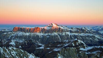 Glacier mountains, Snow covered, Mountain range, Alpenglow, Winter, Mountain Peak, Landscape, Scenic