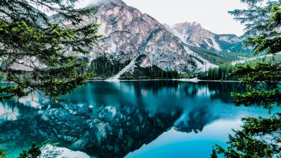 Mountain lake, Reflection, Blue Water, Landscape, Scenery, 5K