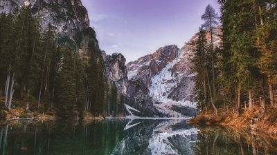 Lakeside, Mountain View, Snow covered, Purple sky, Reflection, Tall Trees, Landscape, Scenery, 5K