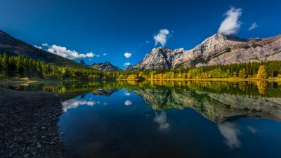 Wedge Pond, Canada, Clear sky, Reflection, Mountains, Green Trees, Landscape, Scenery